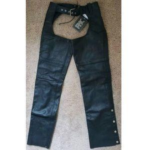 FMC Black Leather unisex motorcycle chaps size M